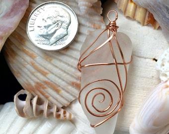 White and Copper Sea Glass / Beach Glass Pendant