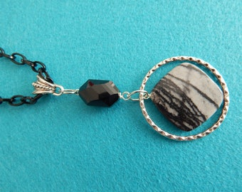 Classic, versatile black and silver necklace.