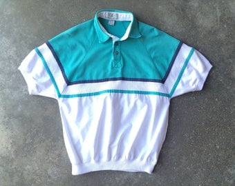Vintage American Weekend Polo Shirt, Preppy Shirt, Short Sleeved, Striped Shirt, Men's Medium