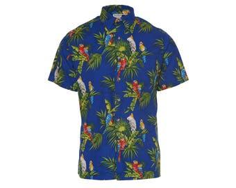 Hawaiian Print Button Up - Men's Size S