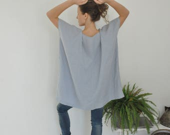 Linen Oversized light blue linen tunic, Linen tunic with big front pocket, Minimal linen tunic, Linen summer tunic, Stone washed, Soft