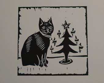 Christmas cat lino cut - greetings card