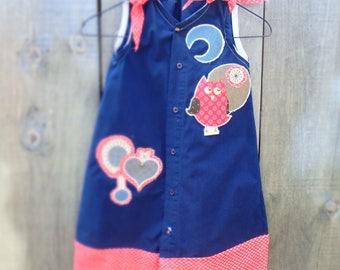 Hand made Men's shirt to Girl's shirt dress, Owl dress, age 7