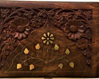 wooden box, storage box, jewelry box,hand carved box,trinket, vintage box,brass inlay,brown,antique,keepsake