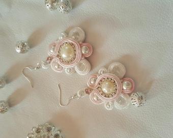 White earrings soutache
