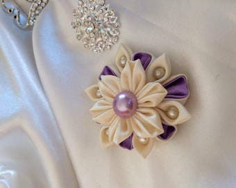 Has purple and ivory satin ribbon kanzashi flower - you choose the backing: hair clip, brooch, comb or headband