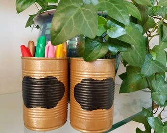 2 x rustic display tins with chalkboard finish