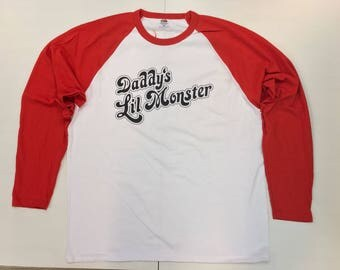 Harley Quinn Tee | Daddy's Lil Monster | Suicide Squad T-Shirt | Cosplay Design | Long Sleeve Baseball Tshirt