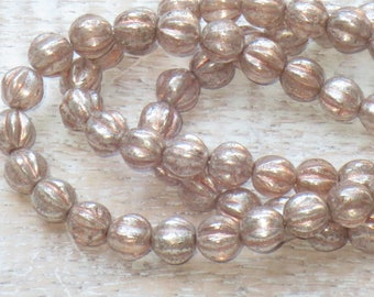 6mm Czech Glass Melon Beads Pink Peach with Mercury Finish and Copper Wash  (25pcs) -Fluted- Czech Glass Beads