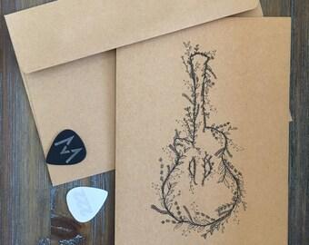 Nick's Guitar- Handmade Greeting Card