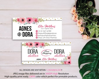 Dora Dollars, Agnes and Dora Cash Card, Custom Agnes And Dora, Agnes Dora Floral Flower Cards, Digital Agnes and Dora, Printable File AG12