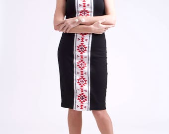 """Tight dress with horizontal embroidery """"Sun"""""""