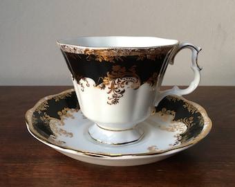 Royal Albert Regina Black Diamond teacup and saucer