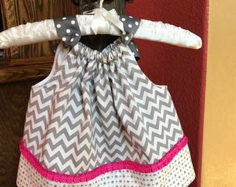 Gray Chevron Pillowcase Dress 6 months to 12 months