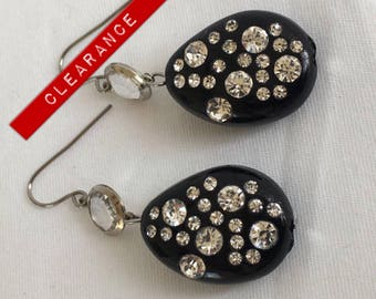 CLEARANCE Black Plastic Rhinestone and Swarovski Crystal Drop Dangle Vintage Pierced