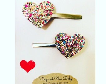 Valentines hair clips, heart hair clips, flat alligator hair clips, rainbow heart clip