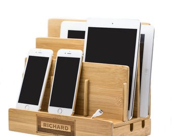 Anniversary Gifts For Men,Gift For Him,Personalized iPad Dock,Birthday Gifts For Boyfriend, iPhone Dock,Wood Docking Station