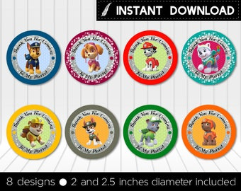 Instant Download - Paw Patrol Cupcake Topper Round Favor Stickers Thank You Tags Chase Everest Skye Rubble Printable DIY - Digital File