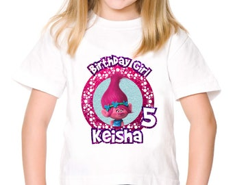 Personalized Troll Poppy Birthday Girl Tee Shirt Tshirt Shirt Iron On Transfer Shirt Image Printable DIY - Digital File