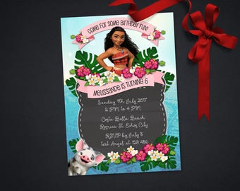 Personalized Moana Birthday Party Invitation Invite Printable Tropical Flowers Hibiscus DIY - Digital File