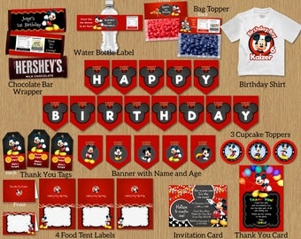 Mickey Mouse Red Birthday Party Package Kit Bundle Banner Invitation Thank You Card Tags Bag Topper Cupcake Topper Food Tent - Digital File
