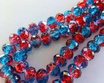 8mm Rondelle Faceted Crackle Painted Glass Beads (Red & Blue Sprayed) - 40 pieces