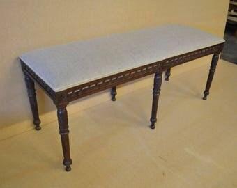 Beautiful Bench / Stool / Window Seat in Beige Natural Linen Dark Wood New *Handmade in UK*