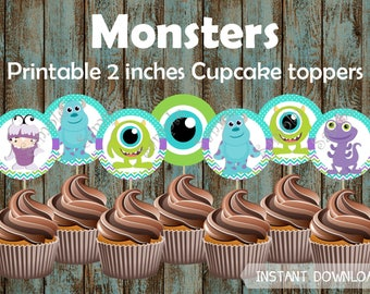 Monsters Cupcake Toppers, Monsters Party Supplies, Monsters Cake Topper, Monsters Birthday party, Monsters Birthday Party Decorations