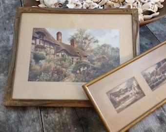 Vintage Thatched Roof Cottage Framed Prints