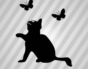 Cat Butterfly Silhouette Kitten Kity - Svg Dxf Eps Silhouette Rld RDWorks Pdf Png AI Files Digital Cut Vector File Svg File Cricut Laser Cut