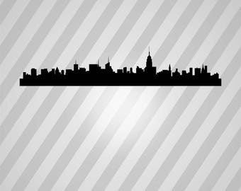 New York Skyline Silhouette Skyline - Svg Dxf Eps Silhouette Rld RDWorks Pdf Png AI Files Digital Cut Vector File Svg File Cricut Laser Cut