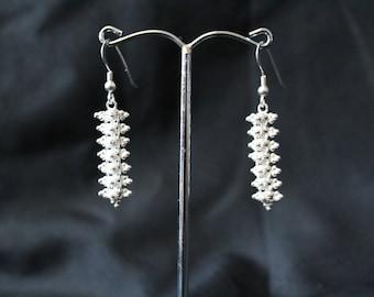 Handcrafted Artisan Jewelry, Silver Earrings, Laos Jewelry, Traditional Flower Earrings