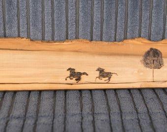 Running Horses Scene on Branch Wood