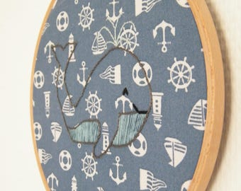 Blue whale embroidery