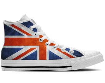 UK Flag British Flag Union Jack Flag - Women's High Top Sneakers / Custom Canvas Shoes - White