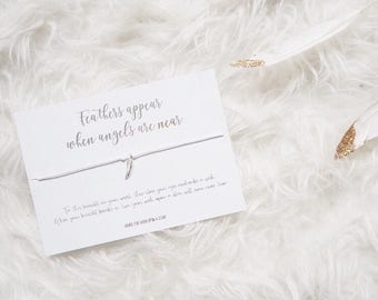 Feathers Appear When Angels Are Near - Wish Bracelet