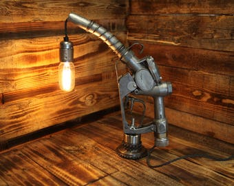 Steampunk Industrial Table Lamp - Husky Petrol Pump Nozzle - Complete with Edison Filament Lamp