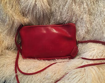 Coach Classic Red Leather Shoulder or Clutch Style Handbag