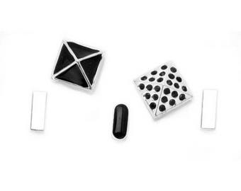 Silver Studs and Spacer Sliders - Black Mix - 5 pieces