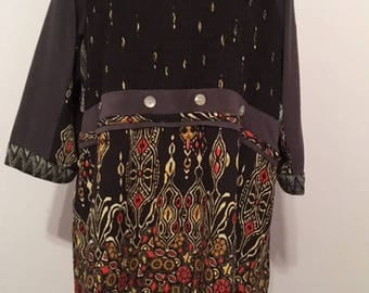 Plus size tunic upcycled repurposed preloved boho gypsy eco