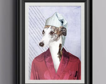 Weary Whippet – Colour Print