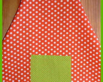 """Vive le Printemps"" orange and lime green apron for children 6 to 10 years"