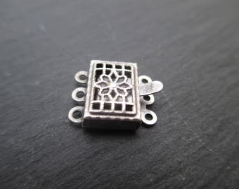 Clasp 3 rows old silver 11 mm * 8 mm sold individually