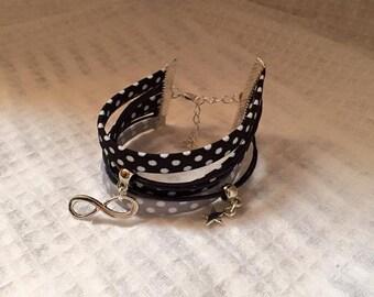Charms and jewelry Ribbon cuff Bracelets black grey tone
