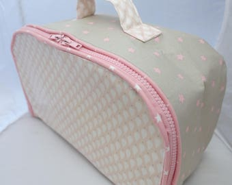 soft pink suitcase Almon and grey