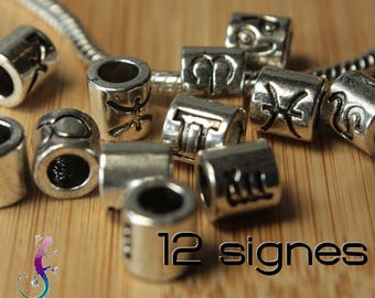 12 pearls signs of zodiac 7.5 mm silver-plated