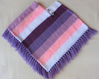 Poncho with fringe - woolen - baby - child - girl - size 24 to 36 months - Pink Purple Violet White - hand knitted - gift idea
