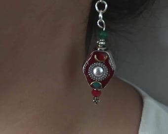 Pearl Earrings from India partitioned Red