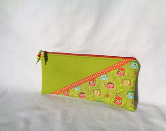 """Kit faux leather fabric, lime green """"owls""""."""