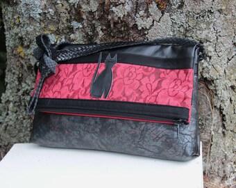 Red and black textile shoulder bag handbag